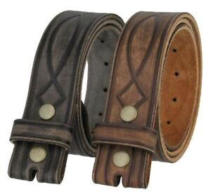 "Western Figure 8 Genuine Leather Tooled Jean Belt Strap 1-1/2"" Wide Size 32""-46"""
