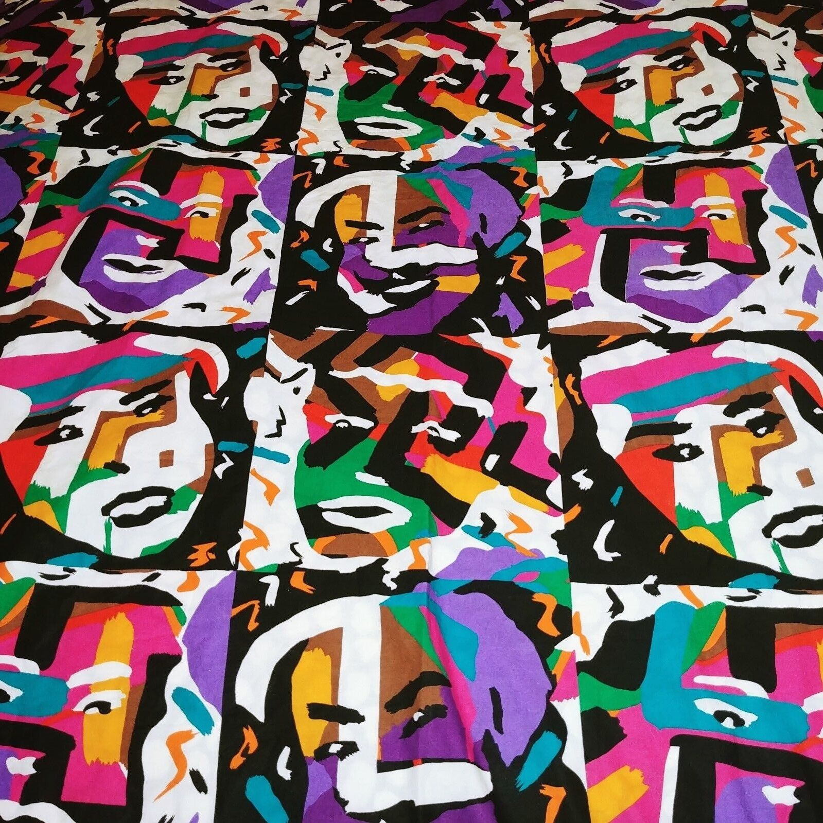 MISSONI Rare Vintage 80s King Duvet Cover Reversible Faces Pop Art 100% Cotton