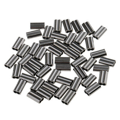 50 Pcs 10mm Double Barrel Crimping Sleeves Copper Tube Connector 2.0mm Bore