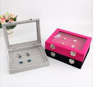 Image Is Loading Velvet Gl Jewelry Ring Display Organizer Case Tray