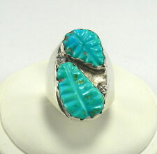 Vintage Signed Loyolita Tsattie Zuni Sterling Silver Ring with Turquoise Stones