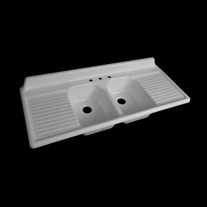 Image Is Loading Reproduction Double Basin Drainboard Sink Model 6025