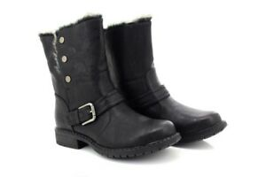 Biker Eyes Stud Ankle Fold 830 Pu Boots Style Cat Briony L Black Down Press gqwvnU8d
