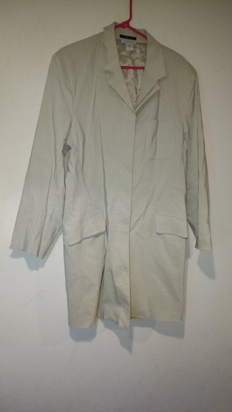Woman's Stretch Peacoat Jacket Hidden Button Below Waist Length Overcoat Khaki