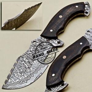 Custom Handmade Damascus Tracker Knife With Micarta Handle 1673 Ebay