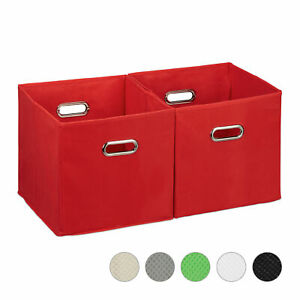 2x Aufbewahrungsbox 30x30x30 Stoffkorb Faltkorb Regalbox Ohne Deckel Staubox Rot Ebay