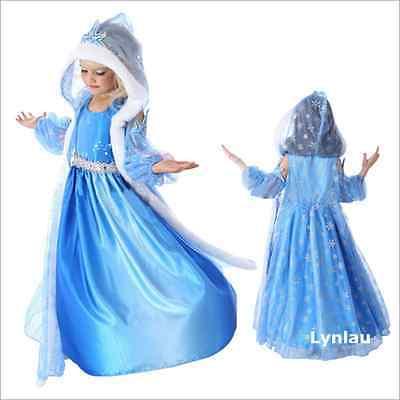 Frozen Elsa Anna Blue Princess Girl Fancy Dress Cosplay Party Halloween Costume