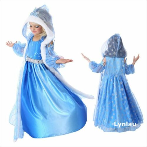 Frozen-Elsa-Anna-Blue-Princess-Girl-Fancy-Dress-Cosplay-Party-Halloween-Costume
