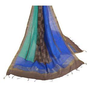 Sanskriti Vintage Dupatta Long Stole Chanderi Silk Scarves Woven Hijab/Shawl