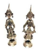 Indian Hindu Silver- tone Musician Prayer Figurine Statue Sculpture Set / 2  VTG