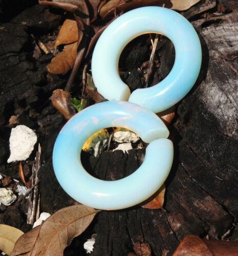 Pair Organic Opalite Hoop Stone Tribal Circular Hanger Ear Weight Gauge Plugs US
