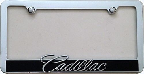 CADILLAC 3D License Frame set of two Chrome ABS Clear Lens
