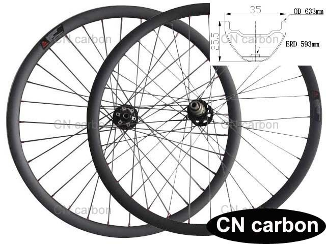 Bead Hookless 29  Mountain DH carbon bicycle wheels 35mm wide x25.5mm Tubuless