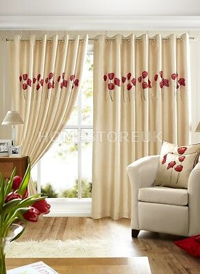 CREAM LINED CURTAIN FAUX SILK RED POPPIES READY MADE EYELET RING TOP WINDOW