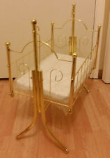 """Baby Doll Gold Metal Swinging Cradle bed w/mattress~Swing~Fits up to 18"""" doll"""