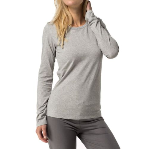 Grey Tommy Hilfiger Womens Cotton Iconic Long Sleeve T-Shirt