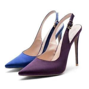 Blue Stilettos High Heels Pointed Toe Court Shoes Pump New Womens Blue