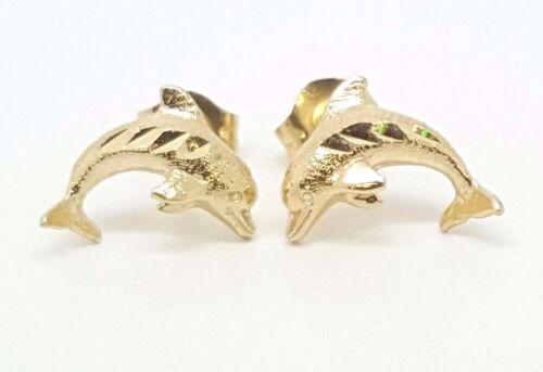 14k Solid Yellow Gold Dolphin Stud Earrings Women//Children Push Back 10MM