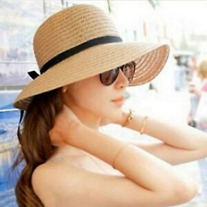 Summer Women Ladies Straw Beach Bow Sun Hat Wide Brim Floppy Derby ... b638f65e8a7