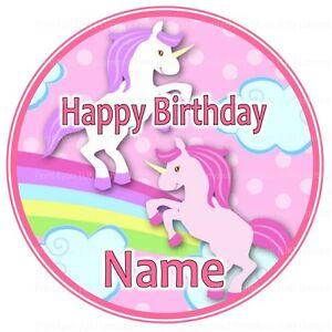 Nd3 Cute Unicorn Birthday Personalised Round Cake Topper