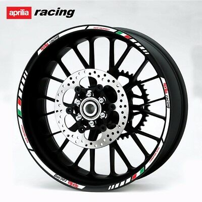 Aprilia Racing wheel decals stickers set rim stripes RSV rsv4 Tuono RS Laminated