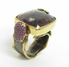 925 Silver & 18K Gold - Vintage Antique Faceted Gemstones 2-Tone Ring 21g - Sz 7