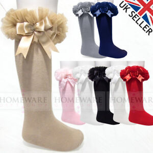 Girls Baby Tutu Socks Spanish Knee High Satin Bow Socks Soft Frilly