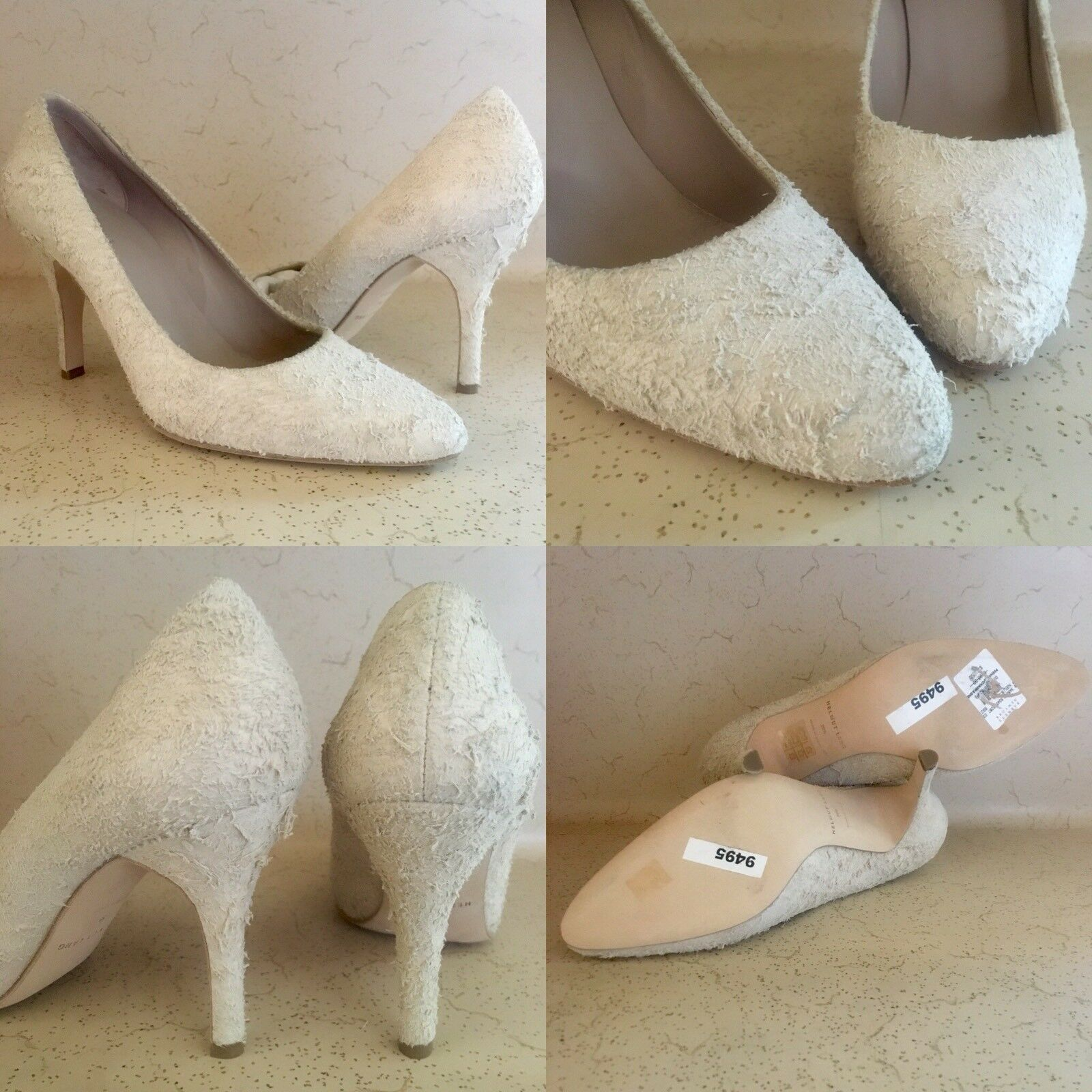 595 NWOB SZ 39.5 IT 9.5 US HELMUT LANG CHAMPAGNE DISTRESSED SUEDE PUMPS HEELS