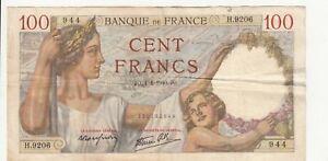 Billet Banque 100 Francs Sully 04 04 1940 Jo H 9206 Etat Voir Scan