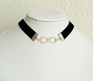 Halsband-Choker-Samt-Kette-schwarz-Unendlichkeit-Infinity-Strass-glaenzend-modern
