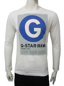 Da-Uomo-G-Star-a-maniche-lunghe-T-Shirt-Top-CERCHIO-G-Print-Bianco-Taglia-M-a-XL-A20-4