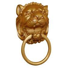 Hickory Manor Round Lion Plaque Towel Holder//Antique Gold HM81209THAG