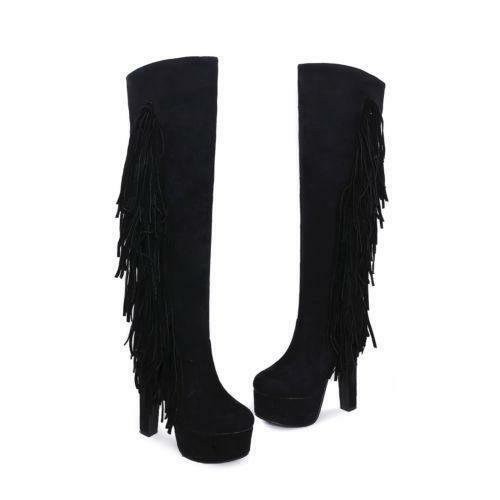 Womens Over Knee Thigh Boots Block High Heels New Platform Fringe Shoes US4.5-13