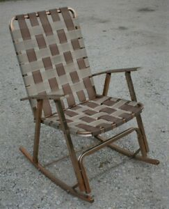 Amazing Details About Vintage Copper Anodized Aluminum Webbed Chair Rocker Folding Rocking Lawn Patio Gmtry Best Dining Table And Chair Ideas Images Gmtryco