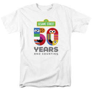 Sesame-Street-50th-Anniversary-Logo-Officially-Licensed-White-Adult-T-Shirt