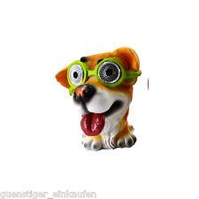 Lámpara Solar Locos Dog Perro con verde Gafas LED Decoración De Jardín Fiesta