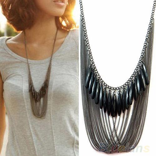 Black Tassels Multi Layers Draped Luxury Gemstone Pendant Fashion Necklace Chain