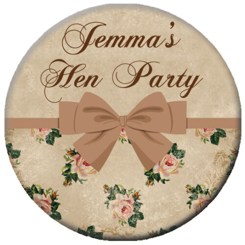 Personalised VINTAGE Antique Rose Photo PIN BADGE Button Hen Party Night 58mm