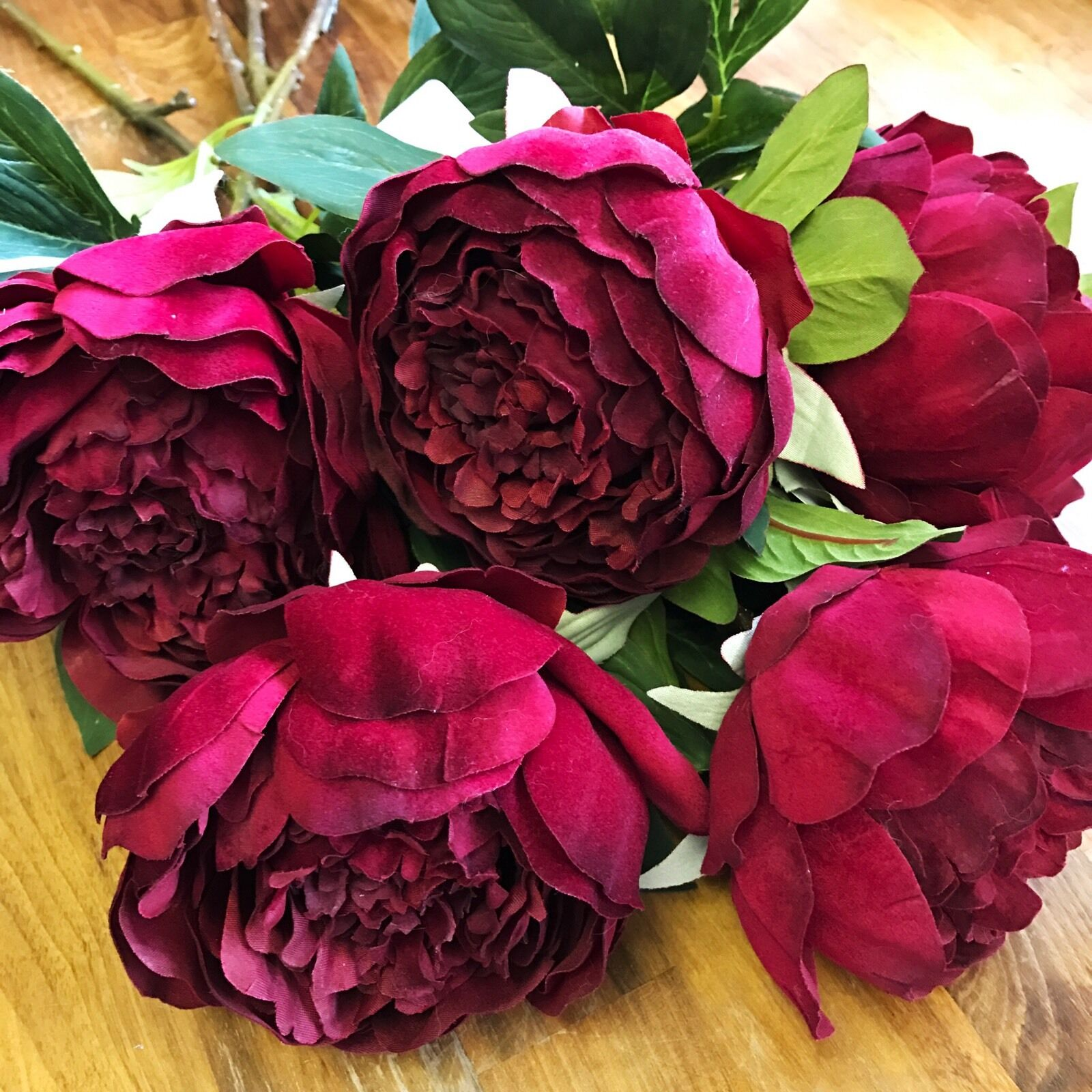 Bunch of 5 Large Realistic rot Peonies, Artificial Luxury Giant Silk Flowers