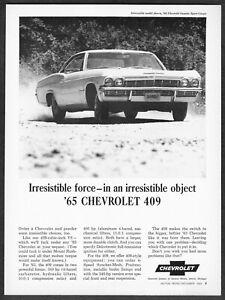 Details About 1965 Chevrolet Impala Sport Coupe 409 Photo Irresistible Force Vintage Print Ad