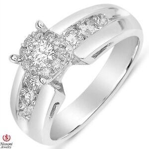 14K-SOLID-White-Gold-Round-Brillian-I1-H-I-81CT-Diamond-Halo-Engagement-Ring