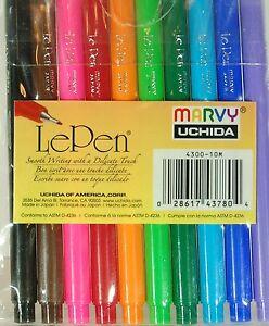 LePen Marvy Uchida Micro-fine 0.3 10pc Colors Set 4300-10M Le Pen Made In Japan