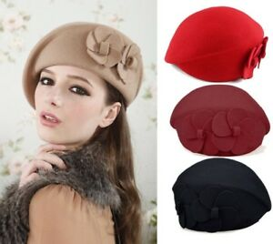Details about 100% Wool Felt Elegant Women French Style Beret Beanie Warm  Pillbox Hat Tam Cap e5958fc37fb