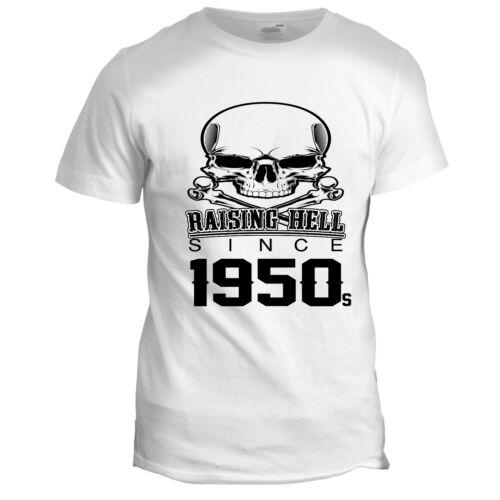 Raising Hell Mens Dad Grandad 50s Biker Motorcycle Birthday Hot Rod T Shirt