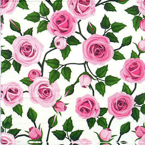 4x Paper Napkins for Decoupage Decopatch Craft Vintage Pink Roses | eBay