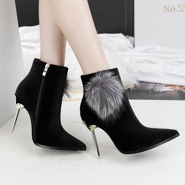 stivali stivaletti bassi stiletto 11 cm caviglia nero eleganti simil pelle 9546