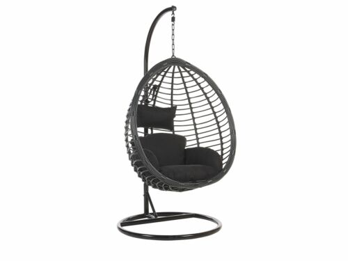 Modern Rattan Hanging Chair with Metal Base Indoor-Outdoor Egg Shape Black Tollo