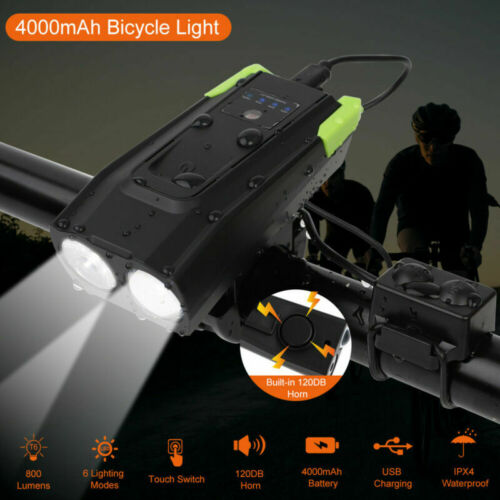 Horn Bicycle Bike Cycling Headlight Front Lights USB Rechargeable LED Smart Lamp
