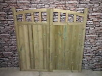 Wooden Drive Way Half Curve Tall Gates Bespoke Wooden Drive Way Gates (pair/set)