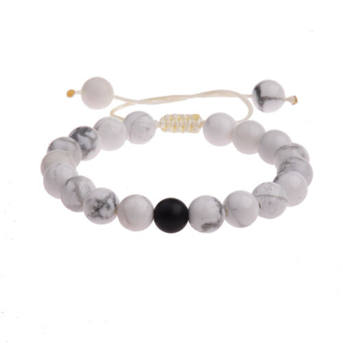 2Pcs//Set pierre naturelle couple Lava Zircon Bracelet Noir//Blanc Perles Bracelets